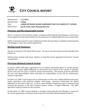 lamar outdoor license agreement for 7691 north 99 - City of Glendale