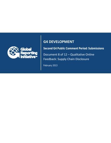 Qualitative Online Feedback: Supply Chain Disclosure - Global ...