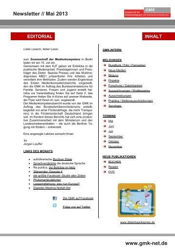 Newsletter // Mai 2013 www.gmk-net.de