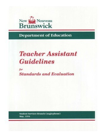 Teacher Assistant Guidelines for Standards and Evaluation