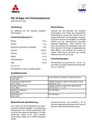 DG 18-Agar mit Chloramphenicol