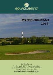 Wettspielkalender 2013.indd - Golf-Club Sylt