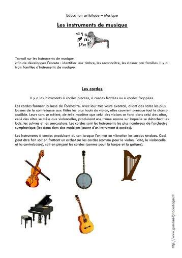 Les instruments de musique - Gomme & Gribouillages