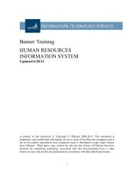 Banner Training HUMAN RESOURCES INFORMATION SYSTEM