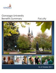 Gonzaga University Benefits Summary Faculty