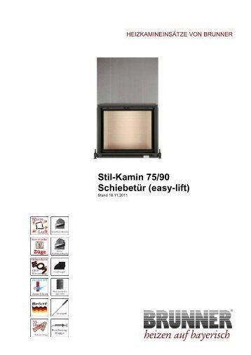 Stil-Kamin 75/90 Schiebetür (easy-lift) heizen  auf bayerisch - Brunner