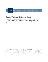 Banner Training Reference Guide POPULATION SELECTION ...