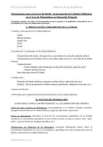 ORIENTACIONES PARA EL DISEÑO DE UNA UNIDAD DIDÁCTICA ...