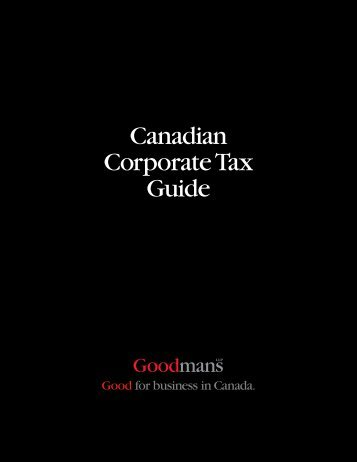 Canadian Corporate Tax Guide - Goodmans