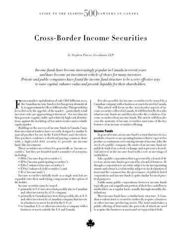 C ro s s - B o rder Income Securities - Goodmans
