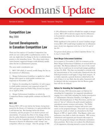 2004.05.05 Competition Law - Competition Law ... - Goodmans LLP