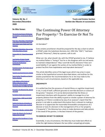 The Continuing Power Of Attorney For Property:1 To ... - Goodmans