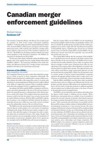 Canadian merger enforcement guidelines - Goodmans