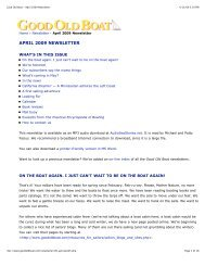 Good Old Boat - April 2009 Newsletter - Good Old Boat Magazine