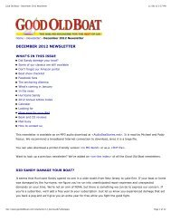 December 2012 Newsletter - Good Old Boat Magazine