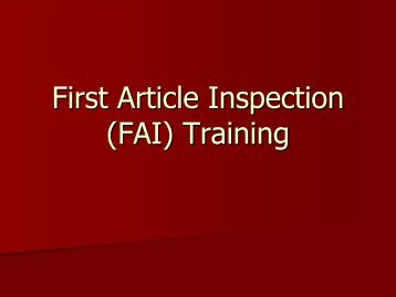 First Article Inspection (FAI) Training