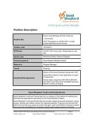 Position Description - Good Shepherd Youth & Family Service