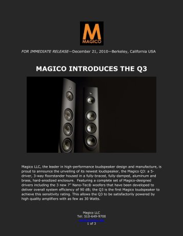 MAGICO INTRODUCES THE Q3 - Goodwin's High End