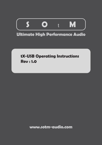 Ultimate High Performance Audio tX-USB Operating Instructions Rev