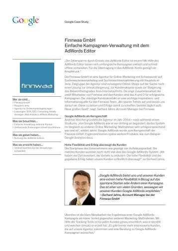 Finnwaa GmbH Einfache Kampagnen-Verwaltung mit dem ... - Google