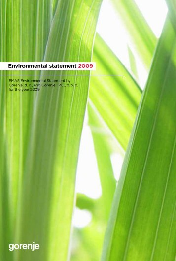 Environmental statement 2009 - Gorenje Group