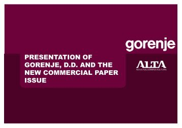 presentation of gorenje, dd and the new commercial paper ... - SEOnet