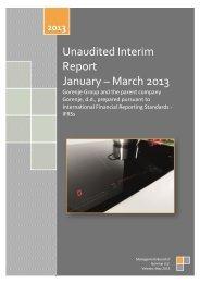 Unaudited Interim Report January – March 2013 - Gorenje Group