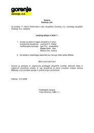 Uprava Gorenja, d.d. na podlagi 11. člena ... - Gorenje Group