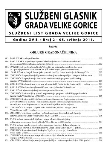 Slu?beni glasnik br. 2/2011 - Grad Velika Gorica