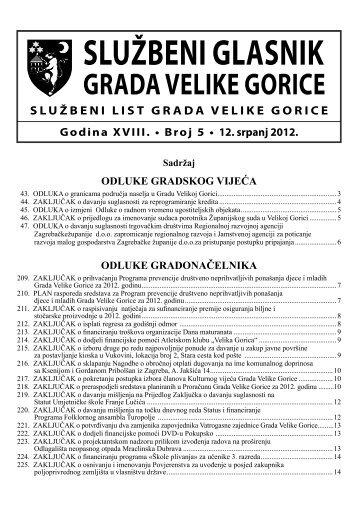 Slu?beni glasnik br. 5/2012 - Grad Velika Gorica