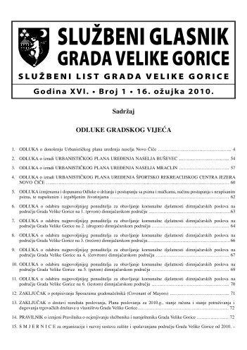 Slu?beni glasnik 01/2010 - Grad Velika Gorica