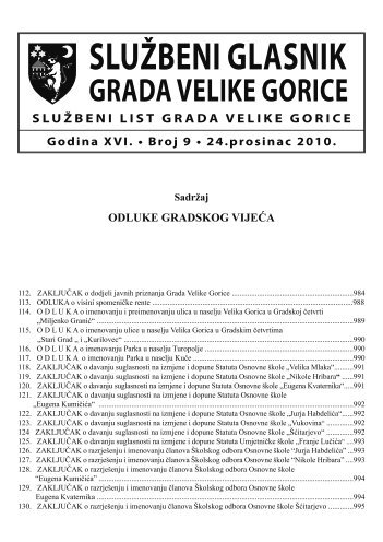 Sluzbeni glasnik GVG 9.indd - Grad Velika Gorica
