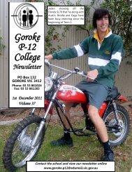 today, Thursday 1st December 2011 - Goroke P-12 College