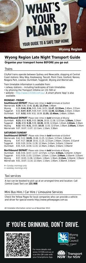 Wyong Region Late Night Transport Guide - Health Promotion