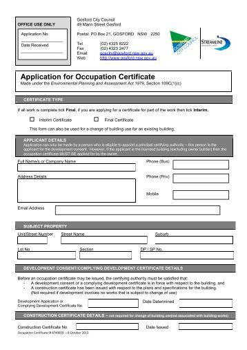 Application for Occupation Certificate - Gosford City Council