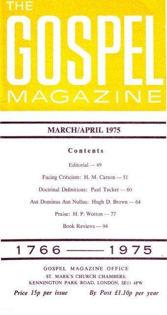 MARCH/APRIL 1975 - The Gospel Magazine