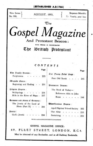 Gospel Mogazine - The Gospel Magazine
