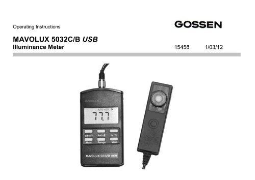 Gossen Mavolux 5032B Digital Footcandle and Lux Meter
