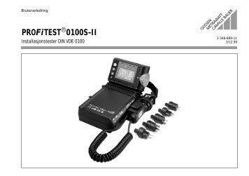 PROFiTEST 0100S-II - Gossen-Metrawatt