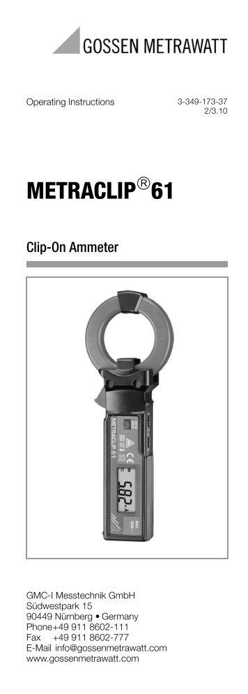 Clip On Ammeter : Metraclip digital clip on ammeter gossen metrawatt