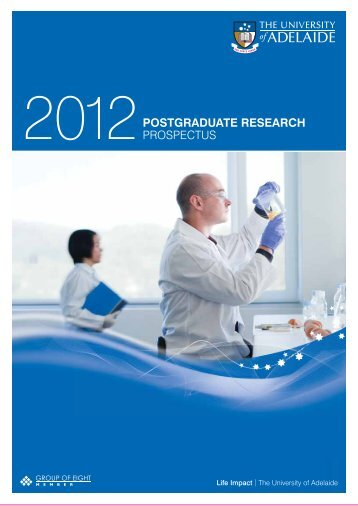 Postgraduate Research Prospectus 2012 - University of Adelaide