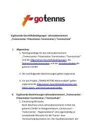 Trainercenter: Präsentation Tennistrainer / Tennisschule