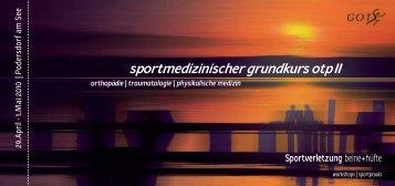 sportmedizinischer grundkurs otp II - (GOTS).