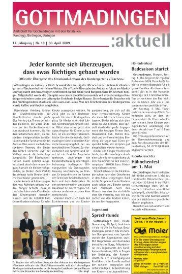 Gottmadingen Aktuell, Nr. 18 vom 30. April 2009