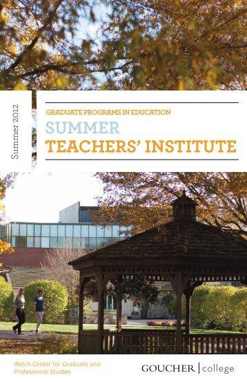 SUMMER TEACHERS' INSTITUTE - Goucher College