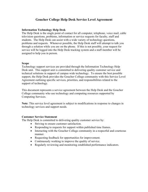Goucher College Help Desk Service Level Agreement