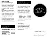 SEXUAL MISCONDUCT POLICY - Goucher College