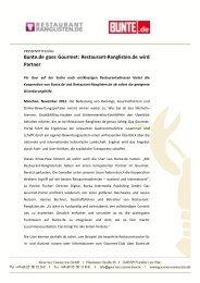 Bunte.de goes Gourmet: Restaurant-Ranglisten.de wird Partner