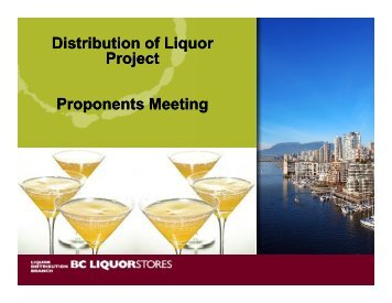Distribution of Liquor Project Proponents Meeting - Government of ...