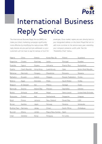 International Business Reply Guidance Notes